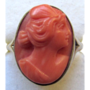 Vintage 14K Yellow Gold Carved Coral Cameo Ring Psyche