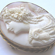 Antique Victorian 9K Gold Pink Coral Cameo Brooch Bacchante