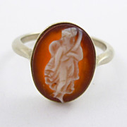 Vintage 9K White Gold Hardstone Cameo Ring Full Body Dancing Muse