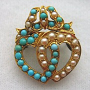 Antique Edwardian 15k Gold Double Heart Bow Ribbon Pearl and Turquoise Brooch