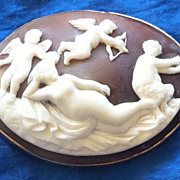 Antique Victorian Carved Cameo Brooch Venus Cupid Satyr 1890