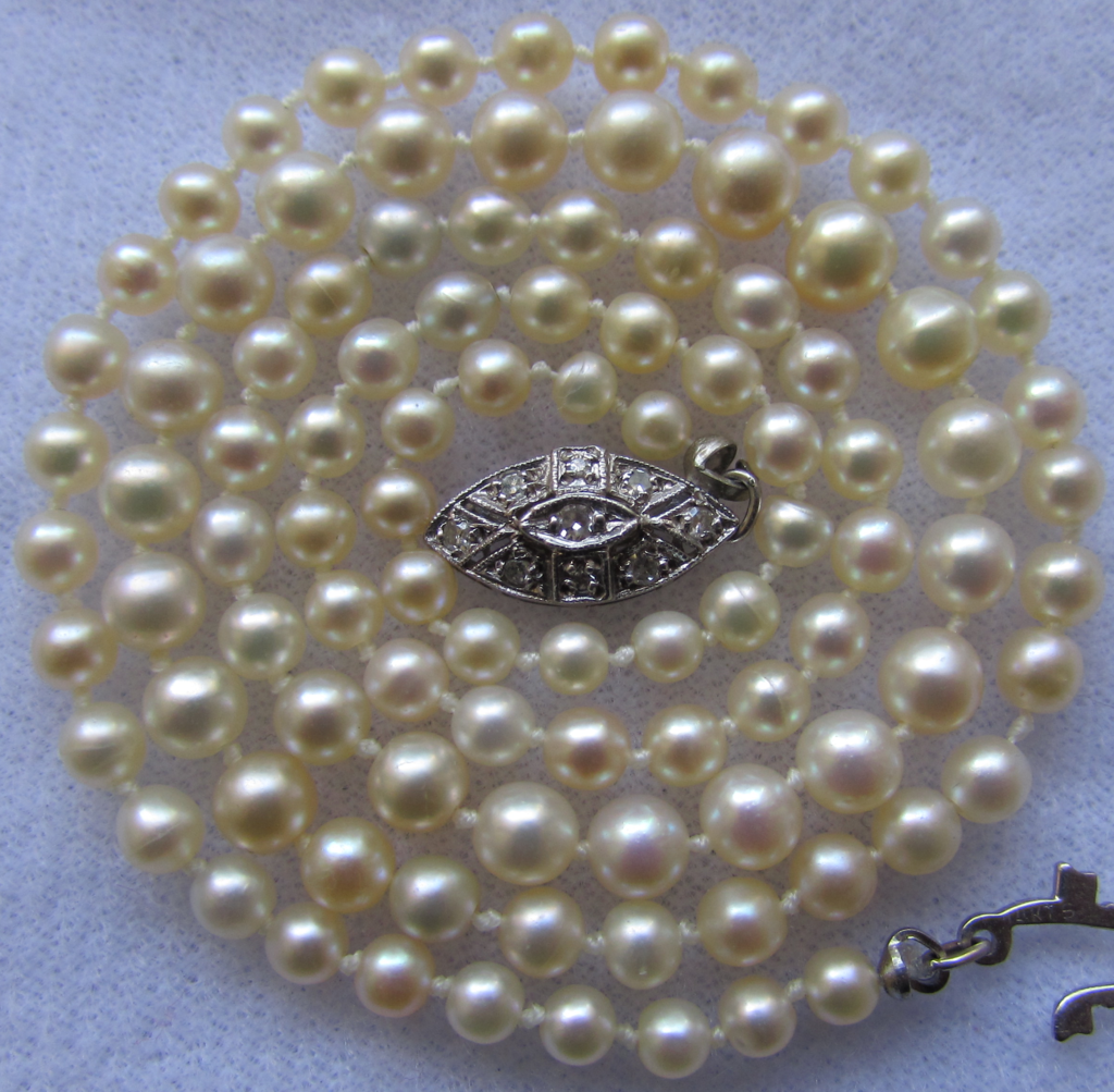 Natural Saltwater Pearl Necklace: Antique EGL USA Certified Natural Saltwater Pearl Diamond