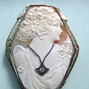 Art Deco 14K White Gold Filigree Carved Shell Cameo Diamond Habille Hexagon Brooch Pendant