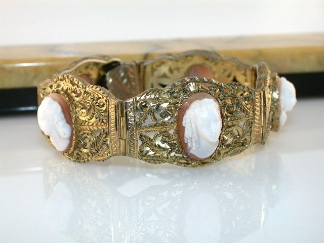 Antique Silver Vermeil Filigree Full Face Shell Cameo Bracelet Original Bakelite Box