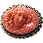 Art Nouveau Carved Natural Coral Cameo Floral Silver Gold Filled Brooch
