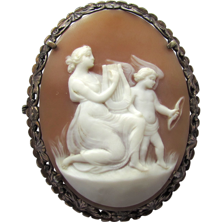 Antique 800 Silver Carved Shell Cameo Education of Eros