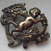 Vintage Cini Zodiac Sterling Silver Cherub AQUARIUS Brooch