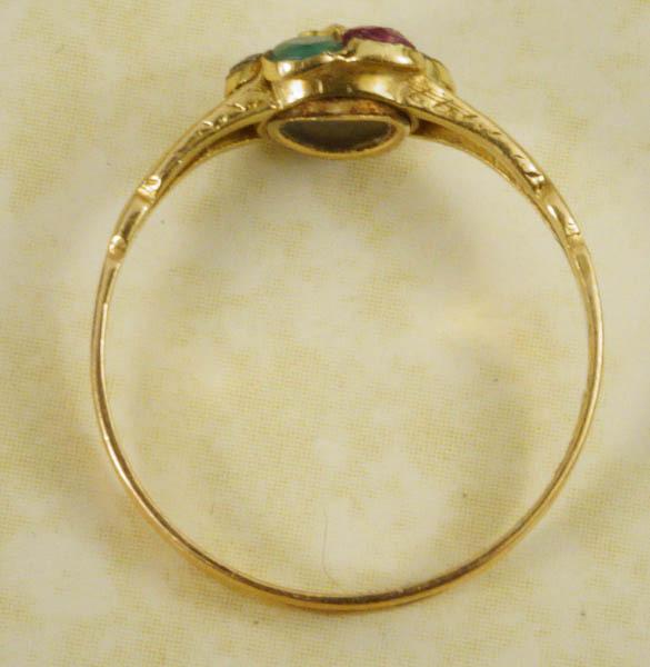 antique 15k acrostic dearest ring ruby