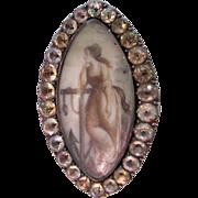 Antique Georgian 9K Gold Paste Sepia Miniature Pin Pendant Anchor Hope