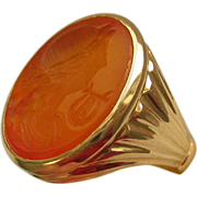 Victorian Carnelian Intaglio Apollo 14K Yellow Gold Huge Ring