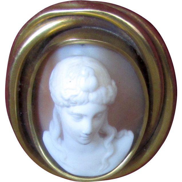 Vintage Framed Antique Carved Shell Cameo Full Face Goddess Aphrodite