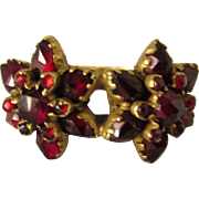 Vintage Yellow Gold Bohemian Garnet Flower Head Ring