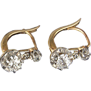 Antique French 1.10ct Diamond 18K Yellow Gold Silver Dangle Earrings