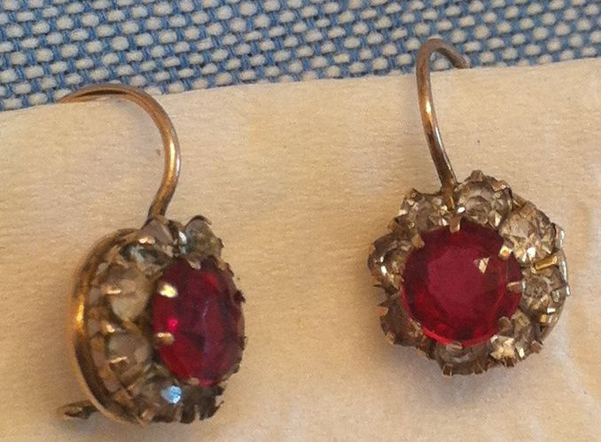 Antique Victorian 9k Gold Ruby And White Paste Cer Earrings Red Sold Lane