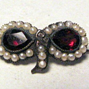 Antique Georgian Garnet Pearl Masquerade Pin Brooch 1820
