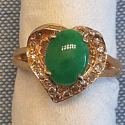 New Old Stock Vintage 18K Gold Jadeite Jade Diamond Heart Ring