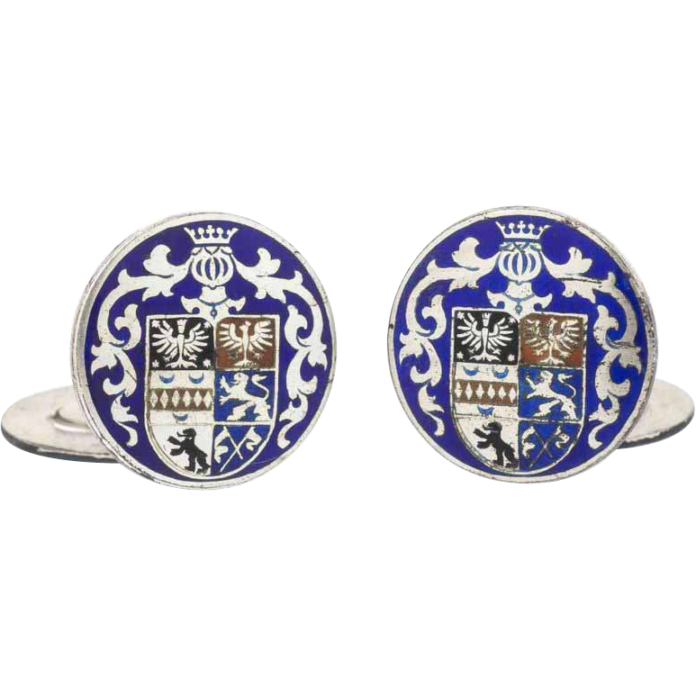 Vintage 835 Silver Polychrome Enamel Cufflinks with Family Crest