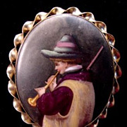 Antique Victorian Hand Painted Porcelain Miniature Brooch