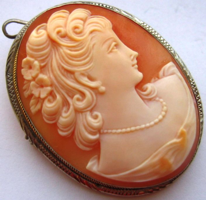 Vintage 800 Silver Carved Shell Cameo Pin Pendant