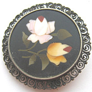 Antique Silver Filigree Micro Mosaic Petra Dura Brooch Pin