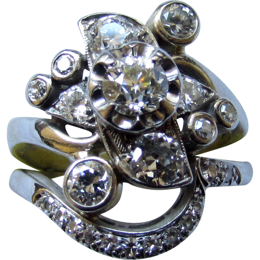Vintage Estate 14K White Gold 1.25ct Diamond Cluster Ring