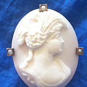 Antique Edwardian 10K Pink Conch Shell Cameo Pendant Pin Demeter
