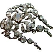 Large Antique Georgian Silver Paste Brooch