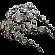 Large Antique Georgian Silver Paste Brooch