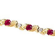 Vintage Estate 14K Gold Ruby and Diamond Bracelet