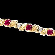 Vintage Estate 14K Gold Ruby and Diamond Bracelet