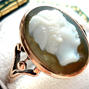 Vintage 9K Yellow Gold Hardstone Cameo Ring Mercury 1928