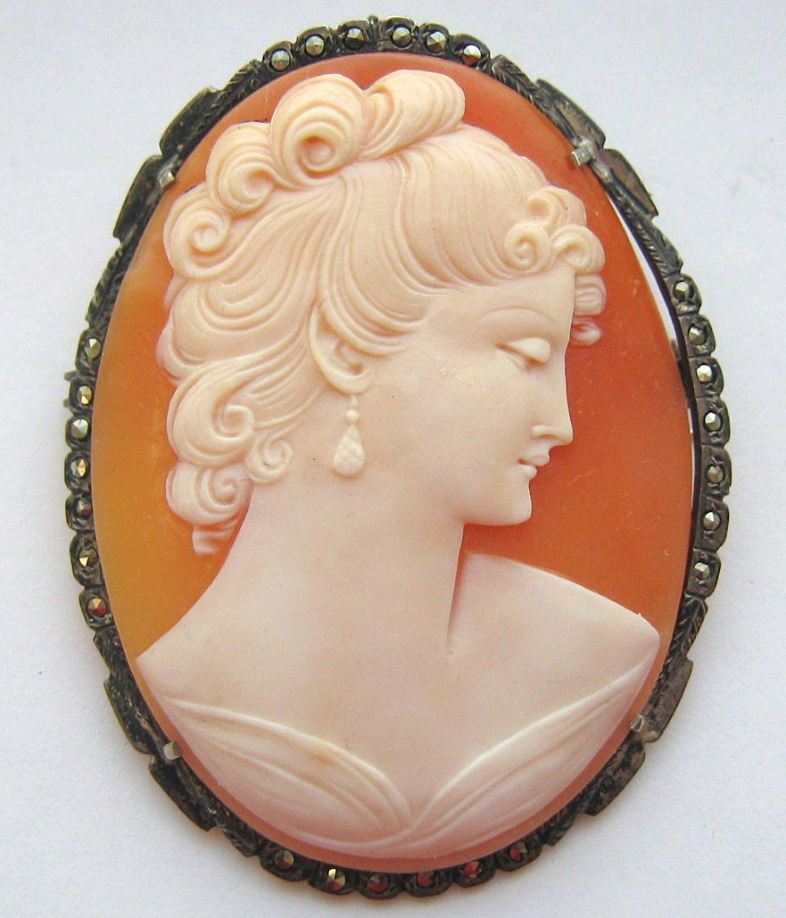 "LARGE 2 1/4"" Vintage 1940s Carved Shell Cameo Marcasite Sterling Brooch Pendant Combo"