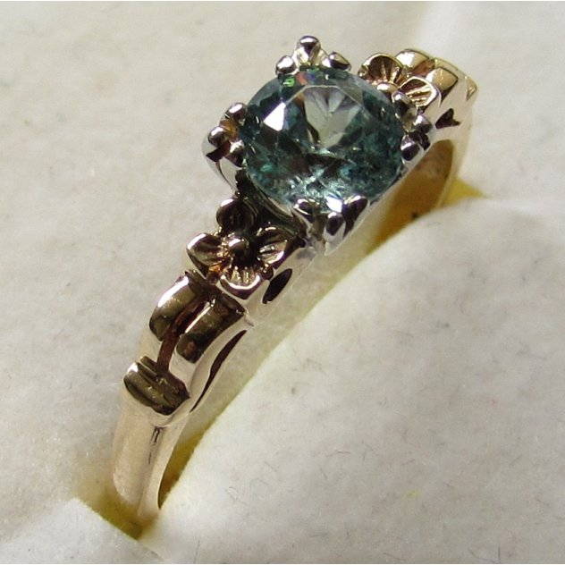Vintage 1930s Natural Blue Zircon 14K Rose Gold Engagement Ring