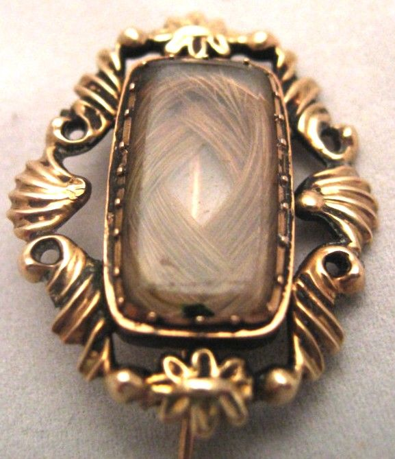 Antique Georgian 9K Gold Hair Mourning Brooch