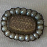 Antique Georgian 9K Gold Natural Pearl Hair Mourning Brooch
