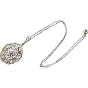 Vintage 935 Silver Filigree Pendant Necklace 1930s