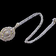 Vintage 935 Silver Filigree Pendant Necklace 1930s