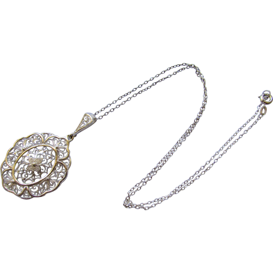 Vintage 935 Silver Filigree Pendant Necklace 1930s from ...