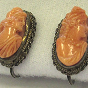 Vintage Coral Cameo Sterling Silver Earrings Hera and Flora