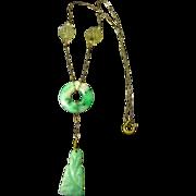Antique Chinese Carved Jadeite Jade Necklace