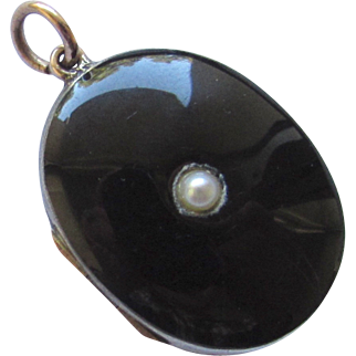 Victorian Rose Gold Silver Black Enamel Pearl Photo Locket Pendant