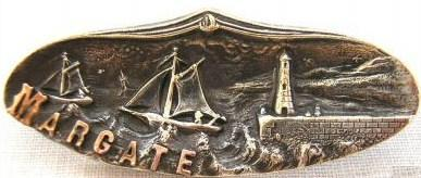 Antique Victorian Silver Marine Lighthouse Rose Gold Margate Brooch Pin