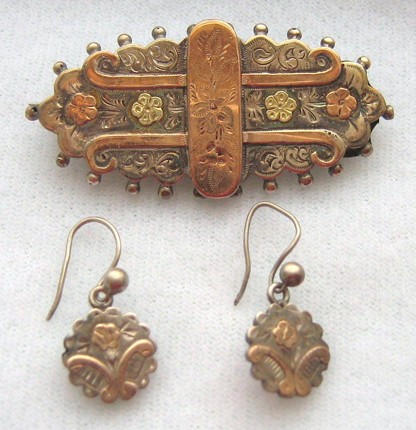 Antique Victorian 1891 Aesthetic Movement Sterling Multi Color Gold Brooch Earrings Set