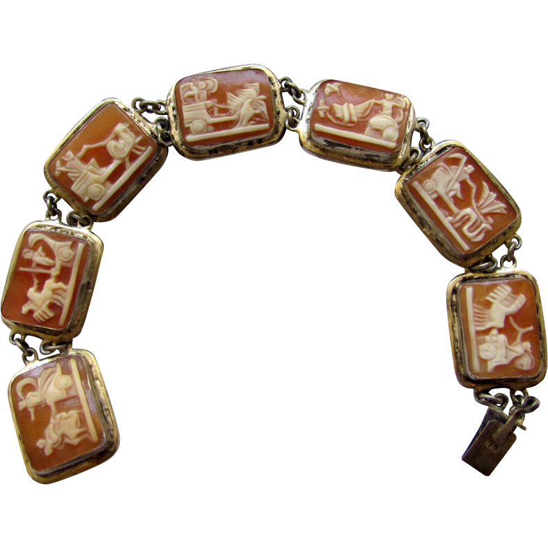 Vintage 800 Silver 14K Gold Carved Shell Cameo Bracelet Seven Days of Week