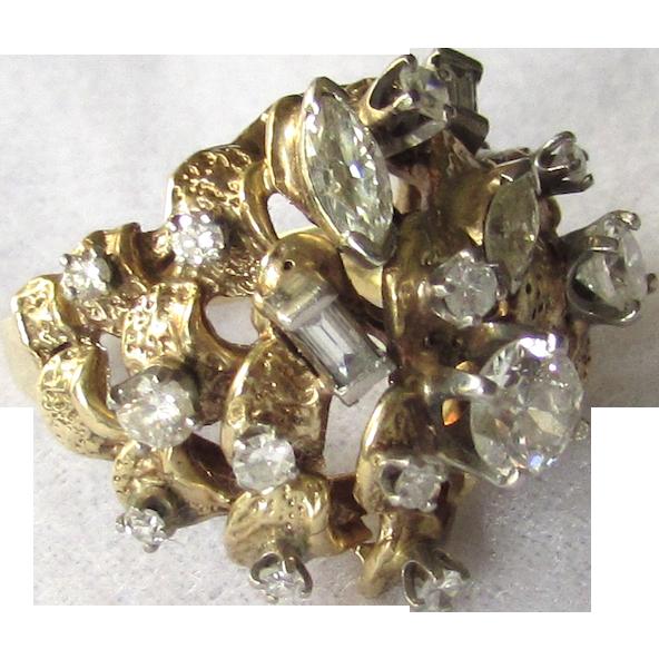 Vintage 1.83ct Estate 14K Yellow Gold Diamond Cluster Ring