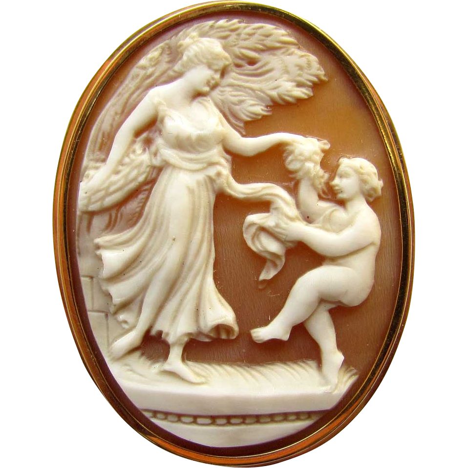 Vintage 18K Yellow Gold Carved Shell Cameo Goddess Cherub Dancing Pin Pendant