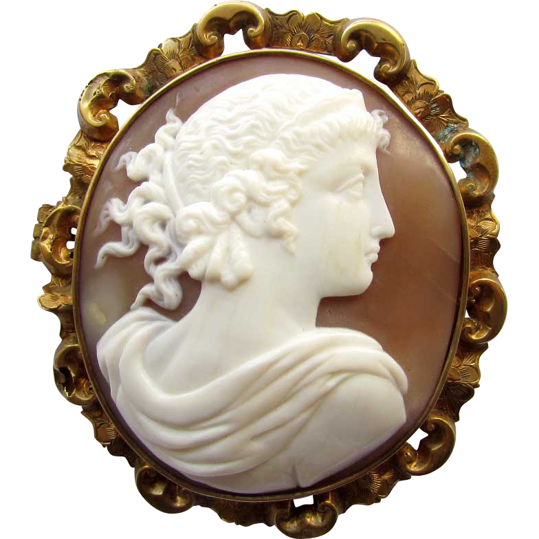 Antique Victorian Carved Shell Cameo Brooch Hera