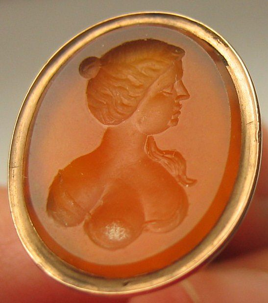 Antique Georgian Fob Seal Engraved Carnelian Intaglio Female Bust