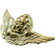 Vintage Sterling Silver Winged Cherub Angel Brooch