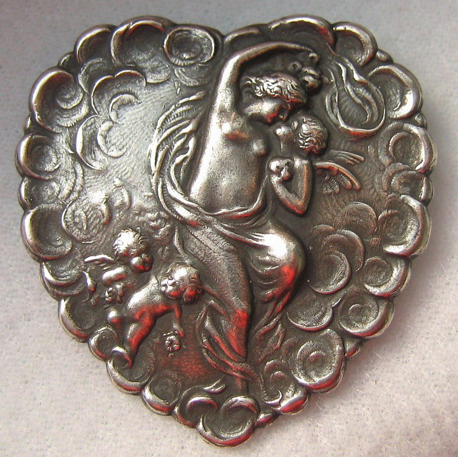 Antique Art Nouveau Silver Love's Kiss Nude Cherub Heart Brooch Pin